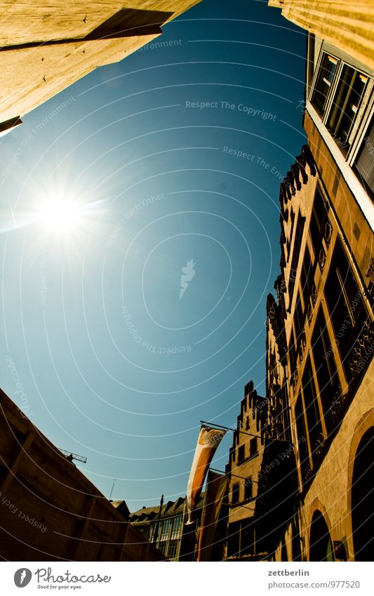 Sky Old City Sun House (Residential Structure) Facade City life Business Perspective Copy Space Flag Cloudless sky Skyline Frankfurt Steep Main