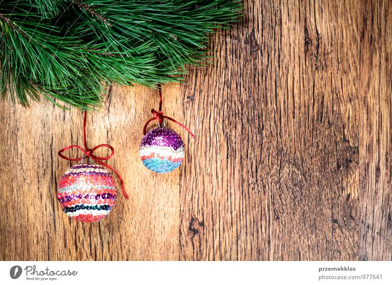 Christmas decoration Green Natural Background picture Wood Feasts & Celebrations Decoration Copy Space Authentic Uniqueness String Seasons Twig Tradition