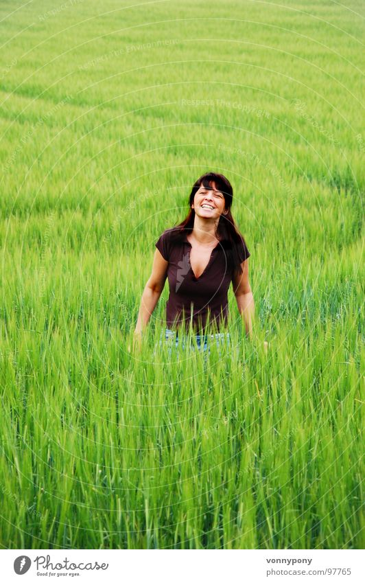 Woman Green Summer Vacation & Travel Meadow Happy Laughter Warmth Brown Field Growth Physics Grain Farm Grain Organic produce