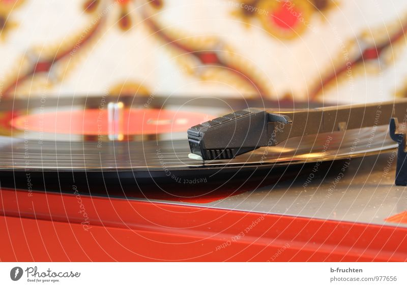 music disc Living room Music Listen to music Record Retro Eroticism Joy Happiness Record player Wallpaper Pattern Colour photo Interior shot Close-up Deserted