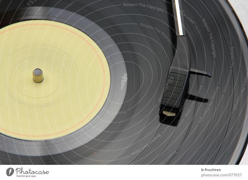 She's spinning Music Disc jockey Record Listen to music Record player Retro Motion blur Circle Black Interior shot Day
