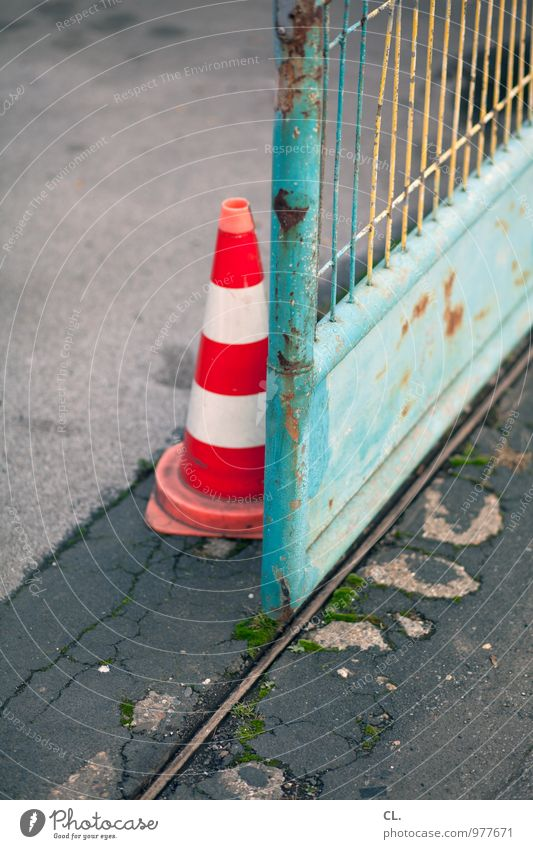 pylon Transport Traffic cone Fence Entrance Main gate Green Orange Safety Colour photo Exterior shot Deserted Day