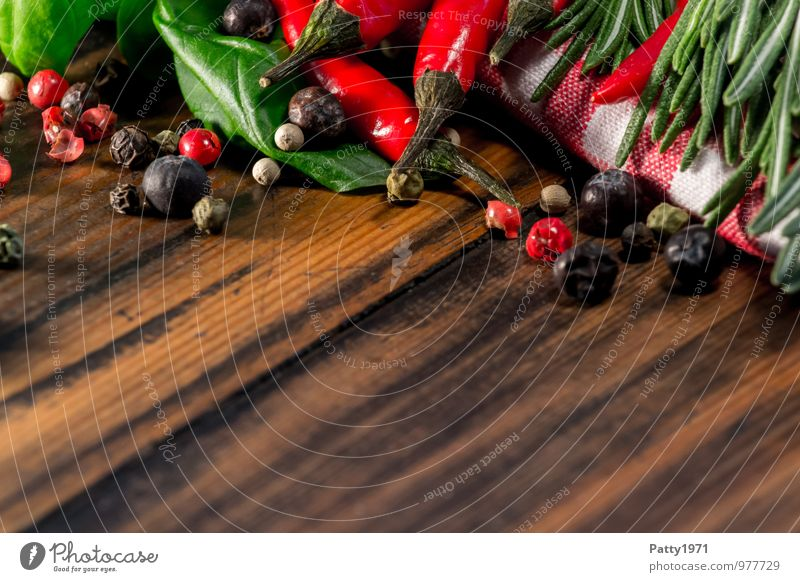Sharp Food Herbs and spices Basil Rosemary Peppercorn Chili Nutrition Organic produce Vegetarian diet Italian Food Chopping board Wood Fragrance Delicious Brown