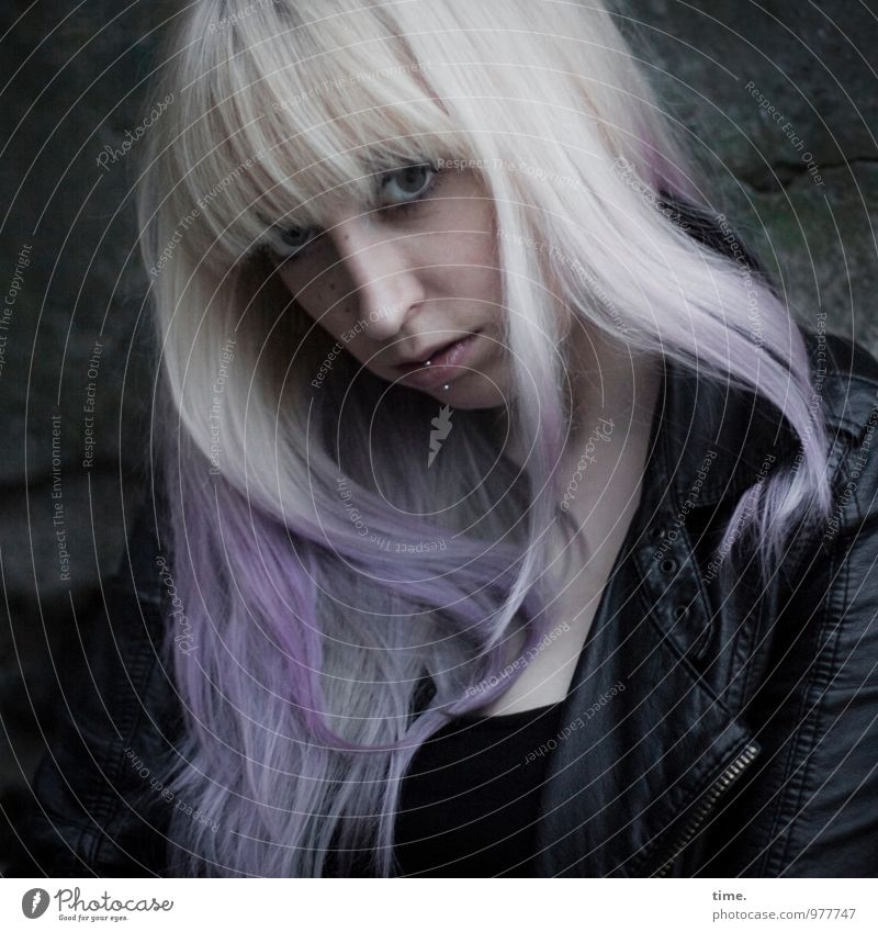 . Feminine Young woman Youth (Young adults) 1 Human being Jacket Leather Piercing Hair colour Blonde Long-haired Bangs Observe Think Looking Wait Dark Beautiful