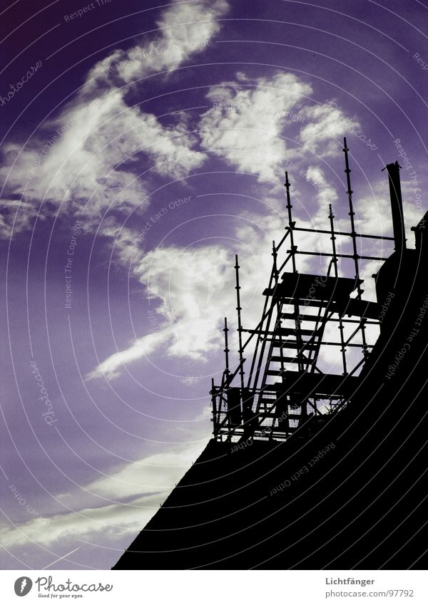 scaffolding Clouds Black Sky Scaffold Blue Contrast Stairs