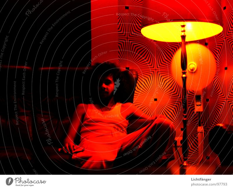 Man Red Black Lamp Sofa Club Fan