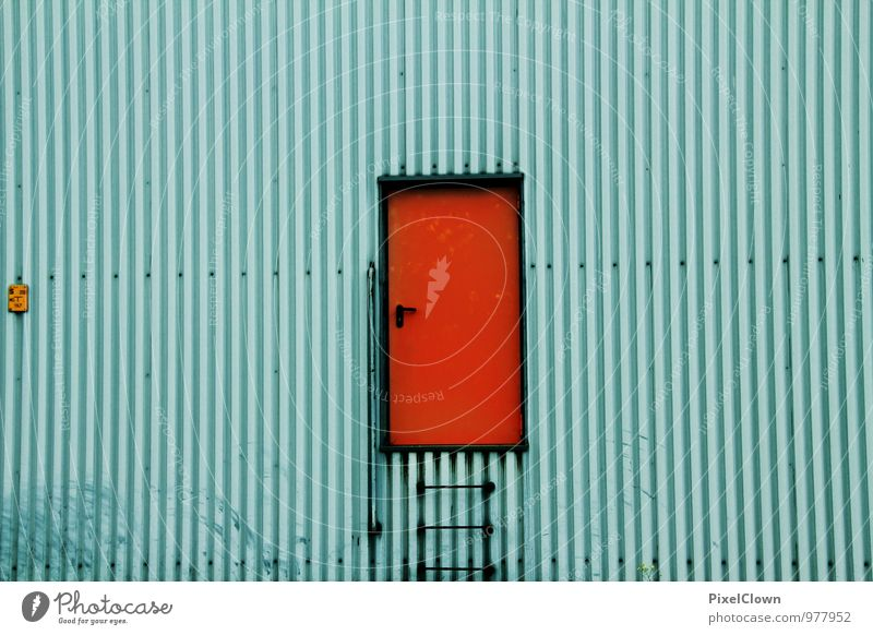 Blue Red Wall (building) Building Wall (barrier) Work and employment Facade Room Door Industry Construction site Protection Safety Factory Steel Rotate