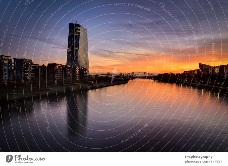 Sunrise FFM River Town Skyline Deserted High-rise Architecture Moody Beautiful Frankfurt Main Colour photo Exterior shot Copy Space top Copy Space bottom Dawn