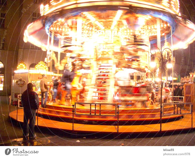 Carousel - Leipzig Night shot Christmas Fair Long exposure Light Rotation Rotate Things Movement Christmas & Advent Blur roundabout night photograph