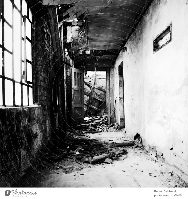 Old House (Residential Structure) Wall (building) Window Building Door Back Grief Floor covering Derelict Distress Ruin Blanket Corridor Passage Building rubble