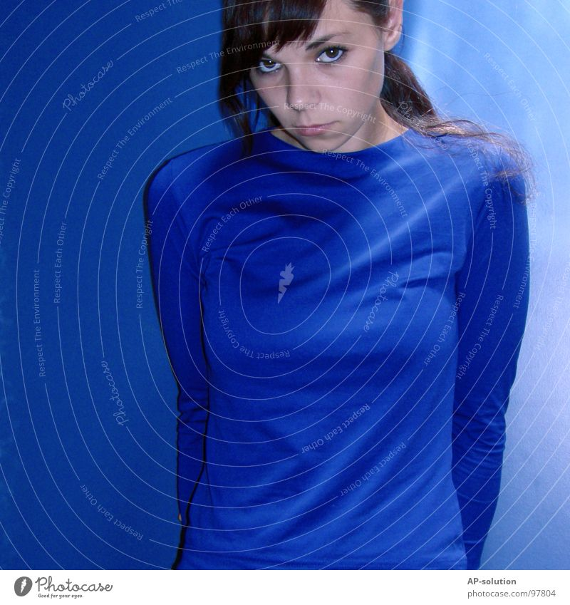 blue ² Portrait photograph Blue tone Sky blue Tone-on-tone Woman Puberty Youth (Young adults) Emotions Grief Loneliness Cold Think Earnest Nerviness