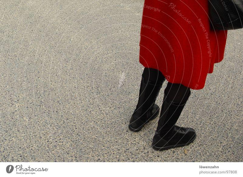 Lady in Red Black Boots Asphalt Woman Coat Handbag