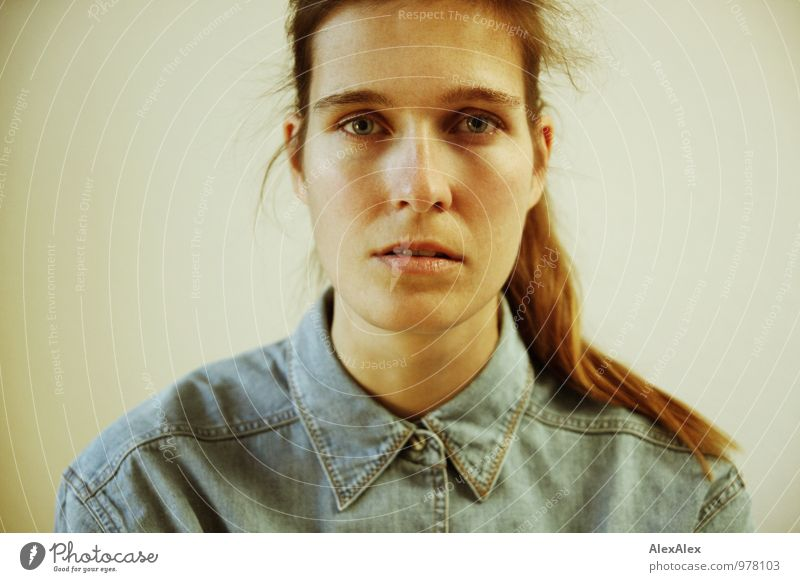 Portrait of a young woman in denim shirt Young woman Youth (Young adults) Head 18 - 30 years Adults Denim Shirt Brunette Long-haired Braids Observe Communicate