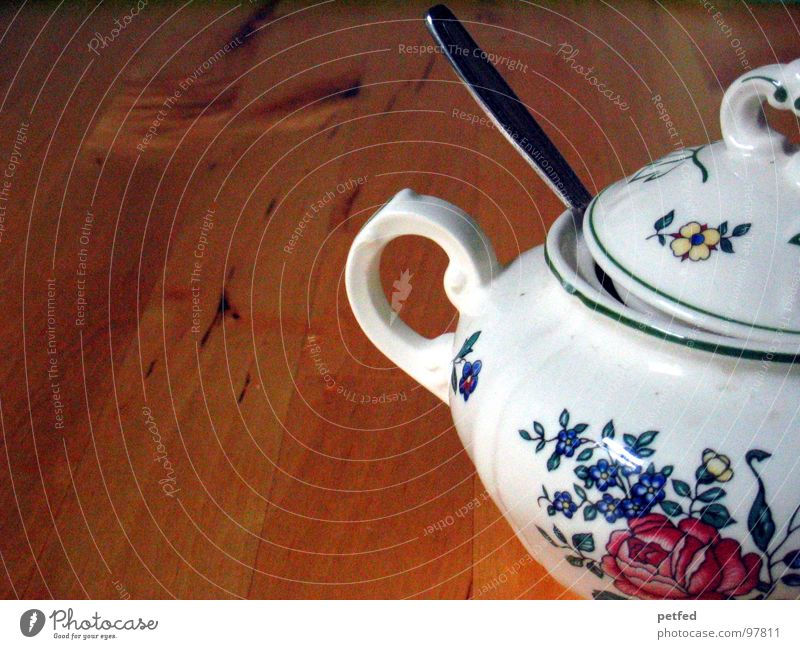 tea hour Sugar Spoon White Rose Brown Table Crockery Wood Break Baked goods Tea Coffee Nutrition Sugar bowl