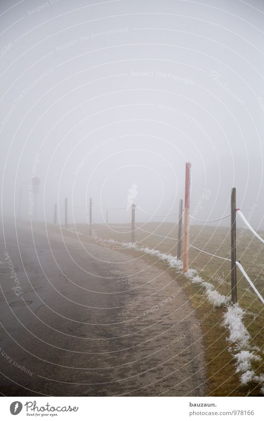 Far-off places Winter Dark Mountain Street Lanes & trails Natural Gray Line Going Fear Fog Transport Hiking Trip Signage