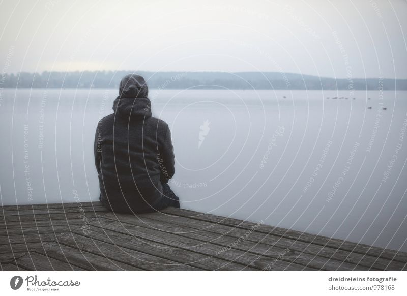 winter thoughts Human being 1 Nature Landscape Water Sky Sunrise Sunset Autumn Winter Ice Frost Lakeside Municipality of Schwielowsee Jacket Cap Observe Think