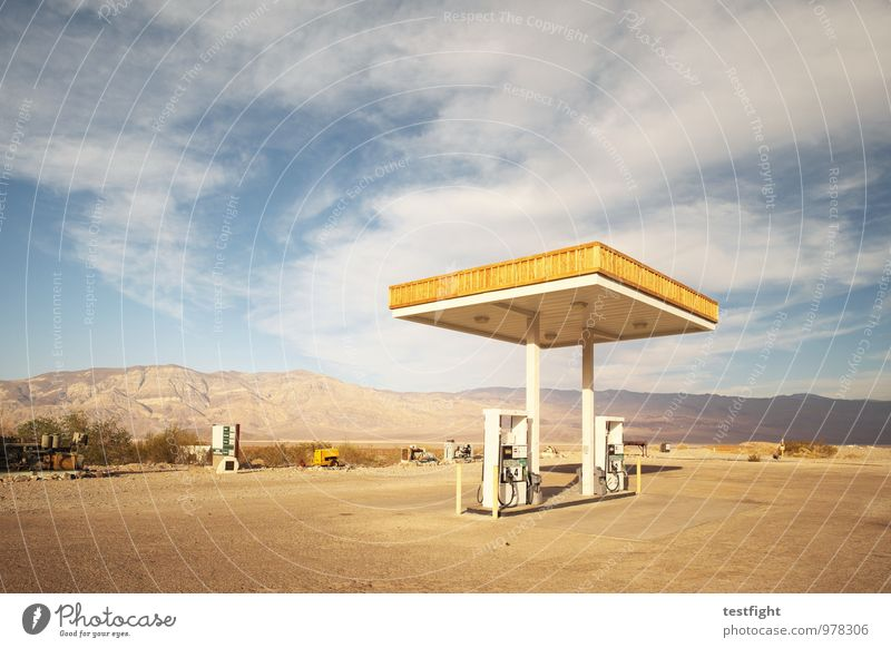 petrol station Workplace Environment Nature Landscape Clouds Sun Sunlight Summer Desert Death valley Nationalpark Transport Street Old Historic Petrol station