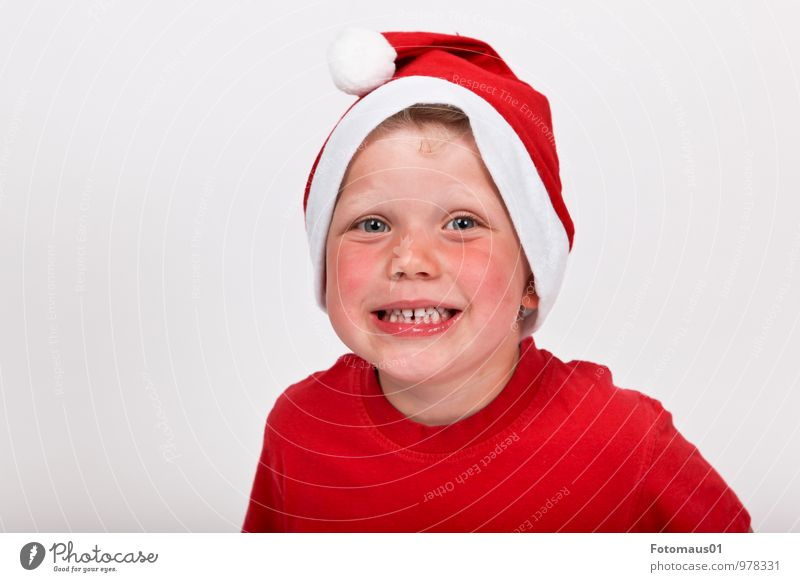 Human being Child Christmas & Advent White Red Joy Emotions Boy (child) Happy Moody Contentment Infancy Fresh Happiness Smiling Cute