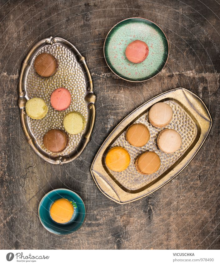 Macarons and old tray Food Cake Dessert Candy Nutrition To have a coffee Bowl Style Design Kitchen Vintage Cookie Beautiful Multicoloured Tray Metal Wood Dark