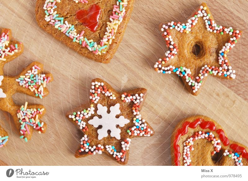 Christmas & Advent Food Nutrition Heart Star (Symbol) Sweet Cooking & Baking Delicious Candy Baked goods Dough Chocolate Sugar Cookie Snowflake