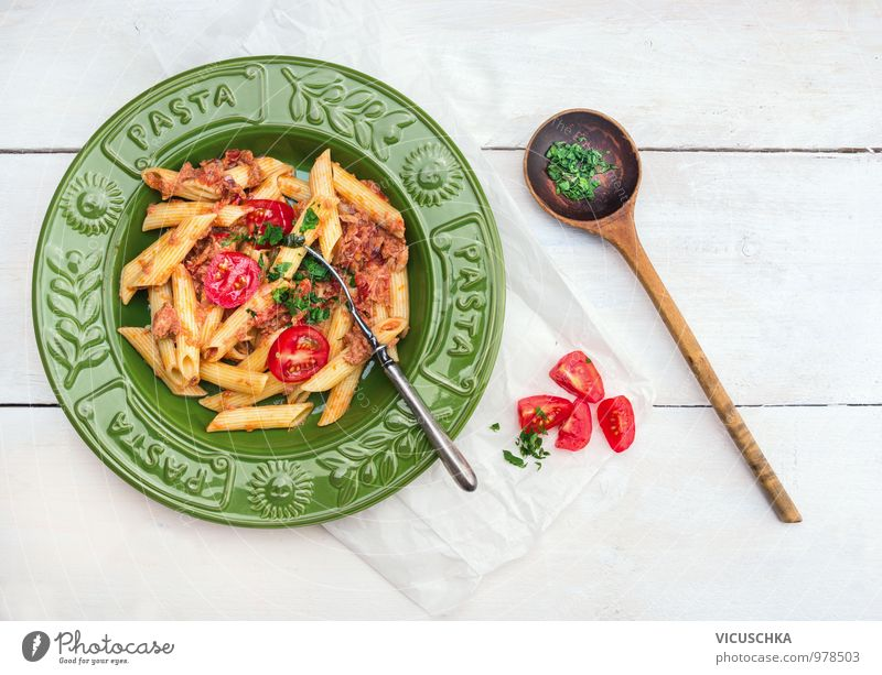 Penne Pasta with Tuna and Tomato Sauce in a Green Plate Food Fish Vegetable Herbs and spices Nutrition Lunch Dinner Organic produce Vegetarian diet Diet