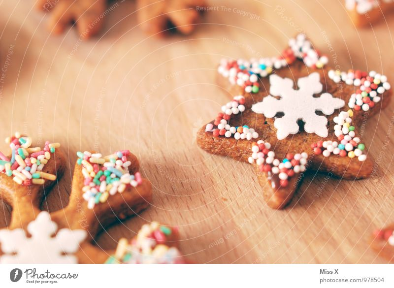 Christmas & Advent Food Nutrition Cooking & Baking Sweet Star (Symbol) Delicious Candy Baked goods Chocolate Sugar Dough Cookie Snowflake Christmas biscuit