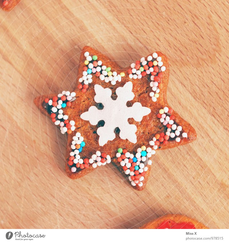 Christmas & Advent Food Snowfall Nutrition Star (Symbol) Sweet Cooking & Baking Delicious Candy Baked goods Dough Sugar Cookie Snowflake Ornate Christmas biscuit