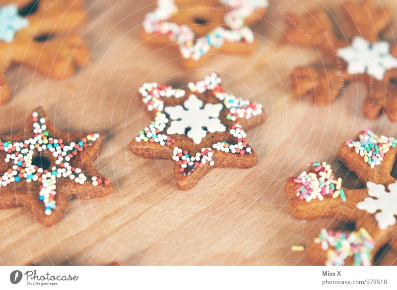 Christmas & Advent Food Nutrition Sweet Star (Symbol) Delicious Candy Baked goods Sugar Dough Cookie Snowflake Christmas biscuit Ornate Granules Icing