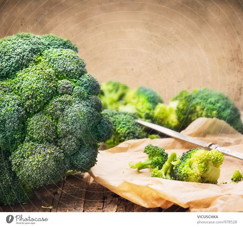Broccoli on the table with knife Food Vegetable Nutrition Organic produce Vegetarian diet Diet Knives Style Design Healthy Eating Life Leisure and hobbies