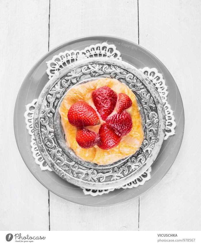 Strawberry cake on silver plate and lace napkin Food Fruit Cake Dessert Nutrition To have a coffee Vegetarian diet Style Design Kitchen Napkin Plate Silver