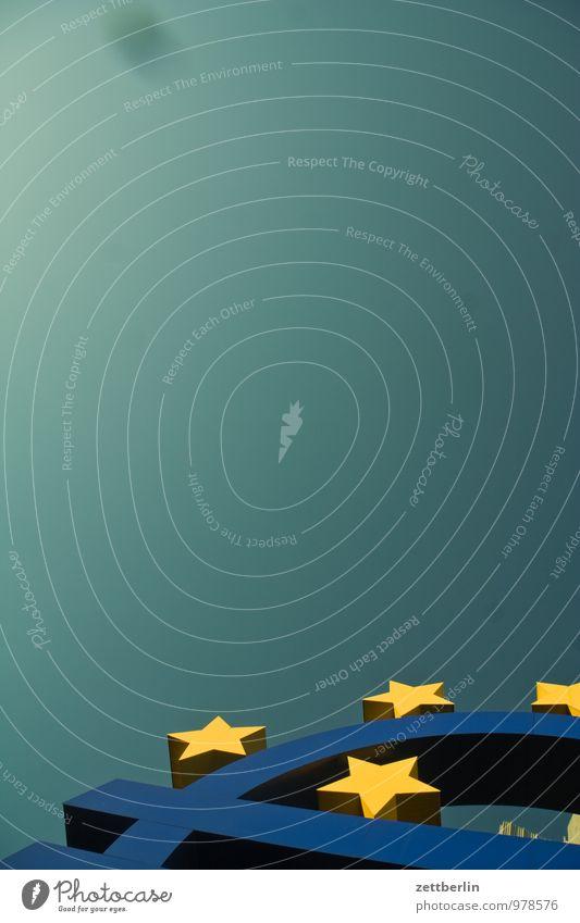 EURO Business Facade Frankfurt Euro Euro symbol Star (Symbol) Europe Cloudless sky Sky Skyward Far-off places Celestial green Copy Space Money Consistent