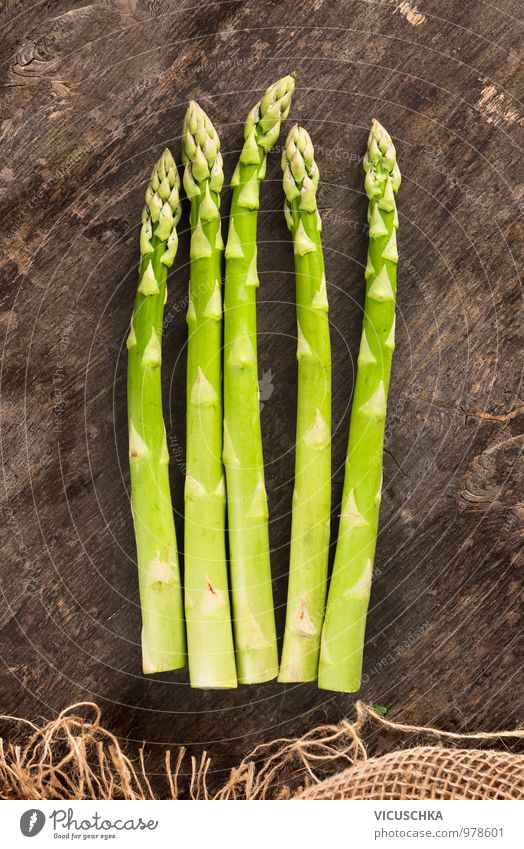 Green asparagus on an old wooden table Food Vegetable Nutrition Lunch Organic produce Vegetarian diet Diet Style Design Healthy Eating Kitchen Asparagus