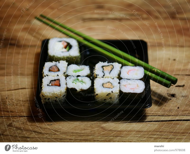 SUSHIBOX Food Fish Nutrition Eating Dinner Finger food Sushi Moody Chopstick Rice Food photograph Wooden table Essen Asian Food Rolled Bowl Box Colour photo
