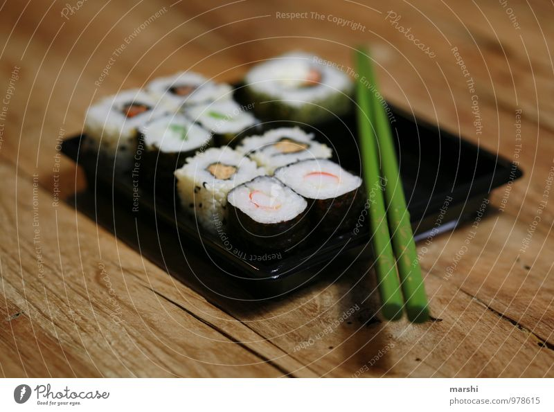 SUSHIBOX II Food Nutrition Eating Lunch Finger food Sushi Asian Food Emotions Moody Chopstick Box Fish Wooden table Appetite Snack Rice Food photograph