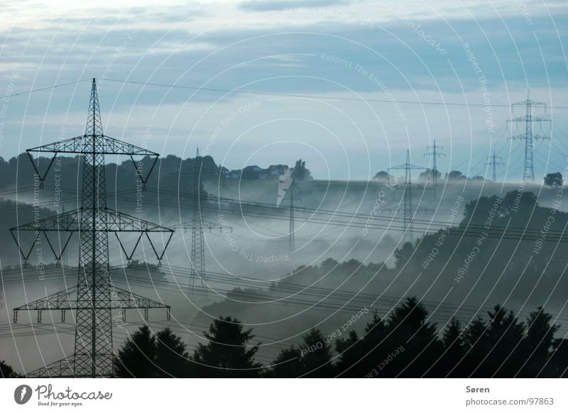 Blue Forest Relaxation Wood Landscape Fog Energy industry Electricity Cable Climate Electricity pylon Sauerland