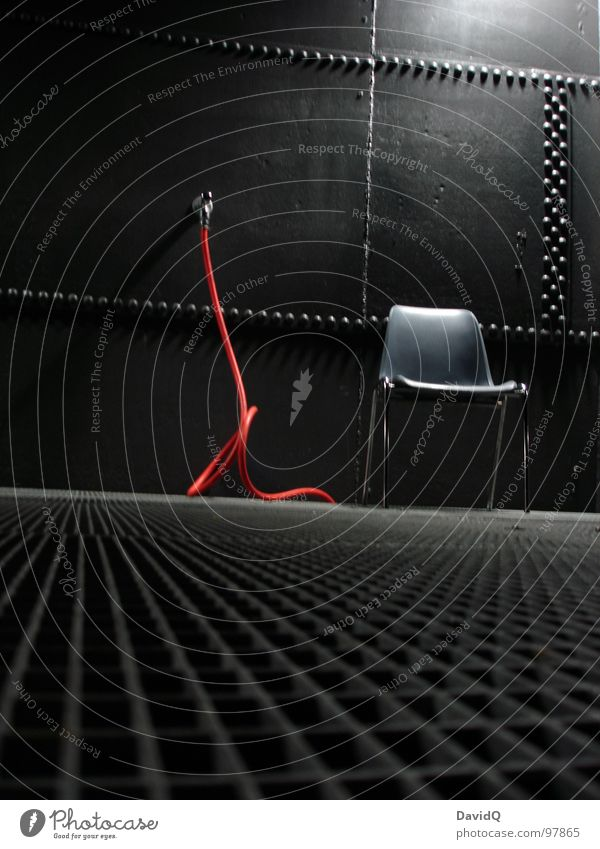 Red Calm Black Gray Lighting Perspective Industry Chair Steel Still Life Seating Iron Hose Motionless Hard Tin