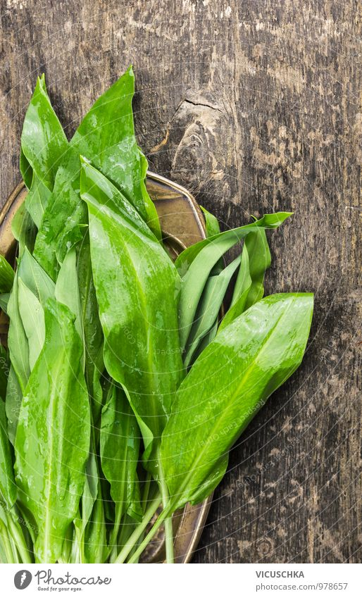 Wild garlic bundles on an old wooden table Food Lettuce Salad Herbs and spices Nutrition Organic produce Vegetarian diet Diet Style Design Healthy Eating Life
