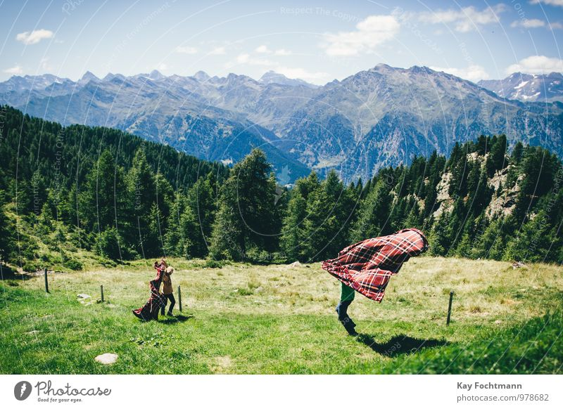 Human being Sky Child Nature Summer Tree Landscape Joy Far-off places Mountain Life Boy (child) Playing Friendship Family & Relations Tourism