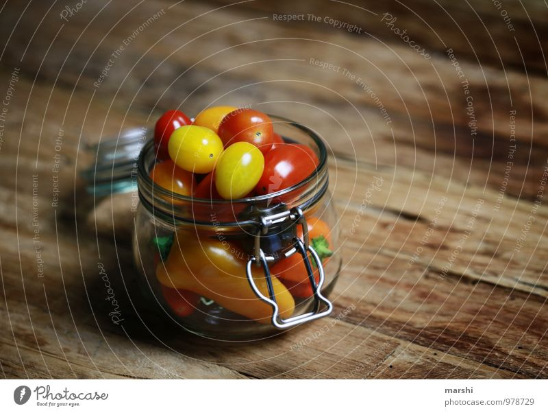 All kinds of vegetables Food Vegetable Nutrition Eating Picnic Vegetarian diet Diet Yellow Red Tomato Pepper Preserving jar Glass Wooden table Healthy Eating
