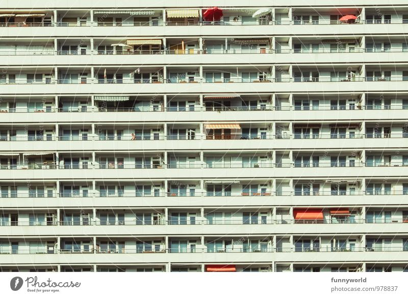 City Loneliness Architecture Building Berlin Facade Together Flat (apartment) Idyll Living or residing Gloomy Modern High-rise Manmade structures Balcony