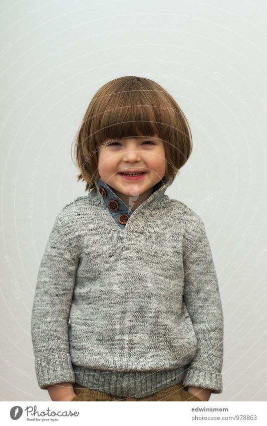 Human being Child Winter Face Natural Gray Small Hair and hairstyles Brown Masculine Blonde Stand Infancy Wait Happiness Smiling