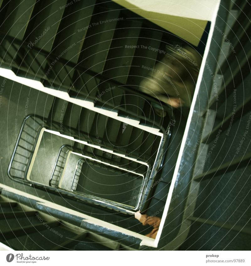 diplophobia Staircase (Hallway) Blur Parking garage Hand Motion blur Speed Hunting To fall Fear Panic Dangerous Sporting event Competition Stairs Movement