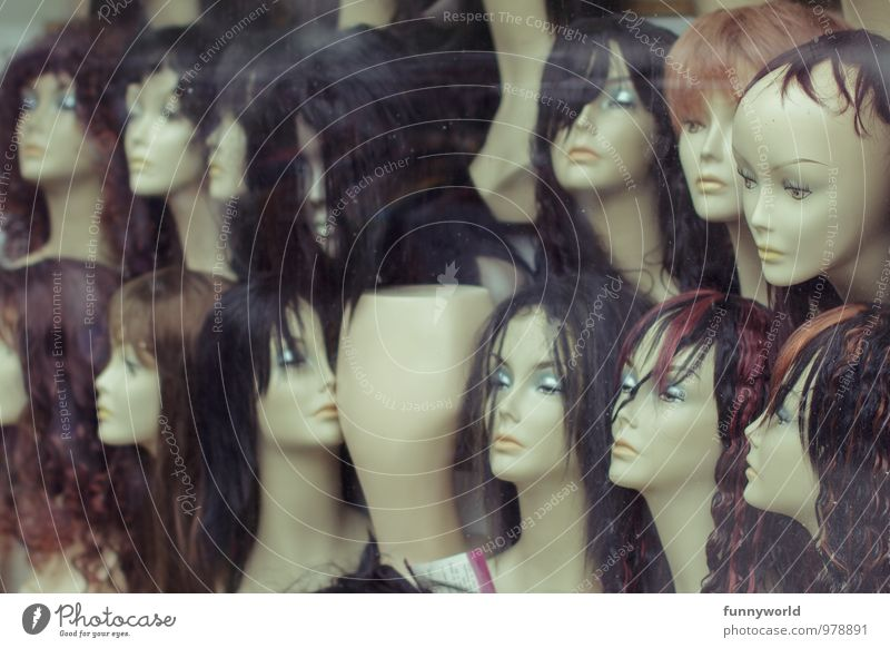 show window Beautiful Hair and hairstyles Black-haired Brunette Bald or shaved head Wig Mannequin Esthetic Creepy Crazy Bizarre Shopping Plastic Sell