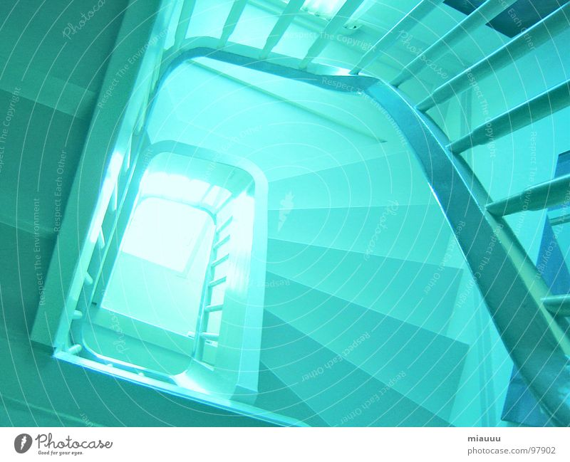 Blue House (Residential Structure) Stairs Modern Mysterious Muddled Spiral Roller coaster