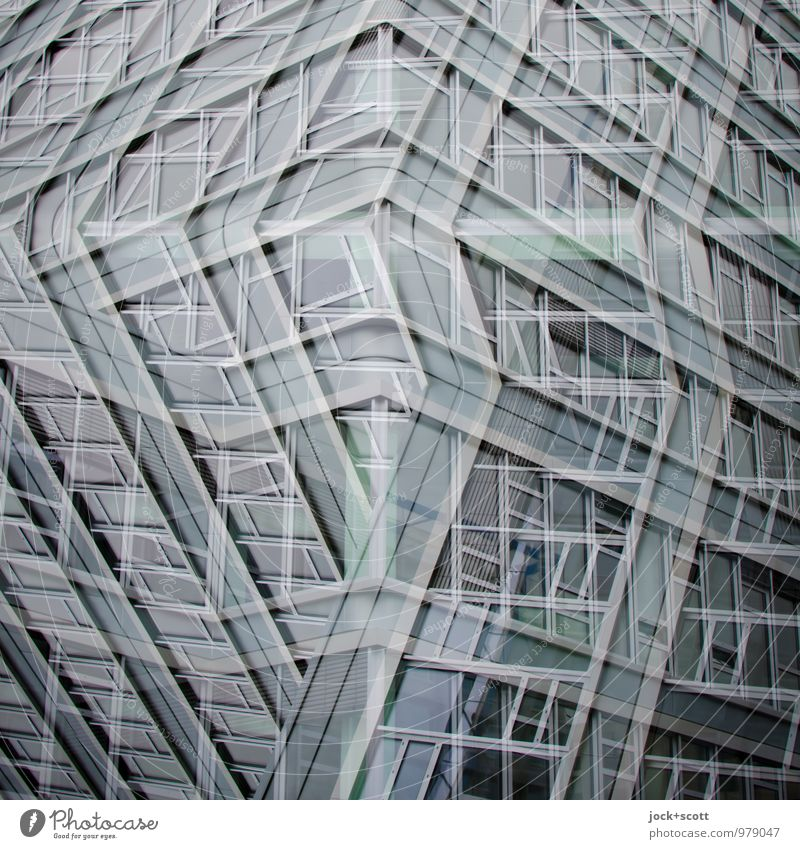 Corner solution, all façade Style Design Saarbrücken Office building Facade Window Line Network Cool (slang) Sharp-edged Fantastic Modern Town Gray Tolerant