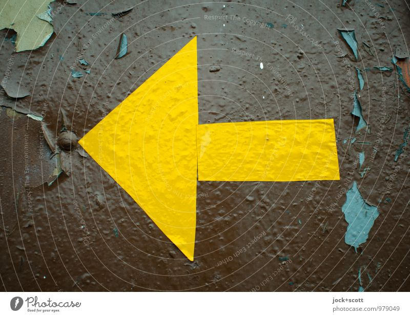 Left yellow arrow GDR Layer of paint Label Metal Arrow Triangle Rectangle Simple Retro Brown Yellow Self-made Surface structure Signage Evident Flaked off