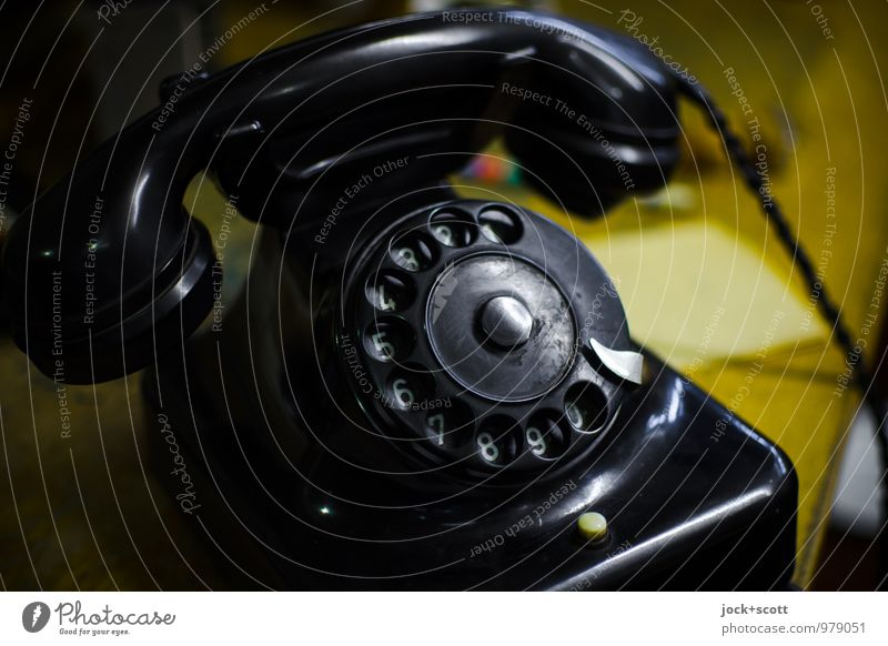 ring-a-ling telephone office Telephone The thirties Rotary dial Digits and numbers Old Elegant Original Retro Black Moody Authentic Esthetic Design Expectation
