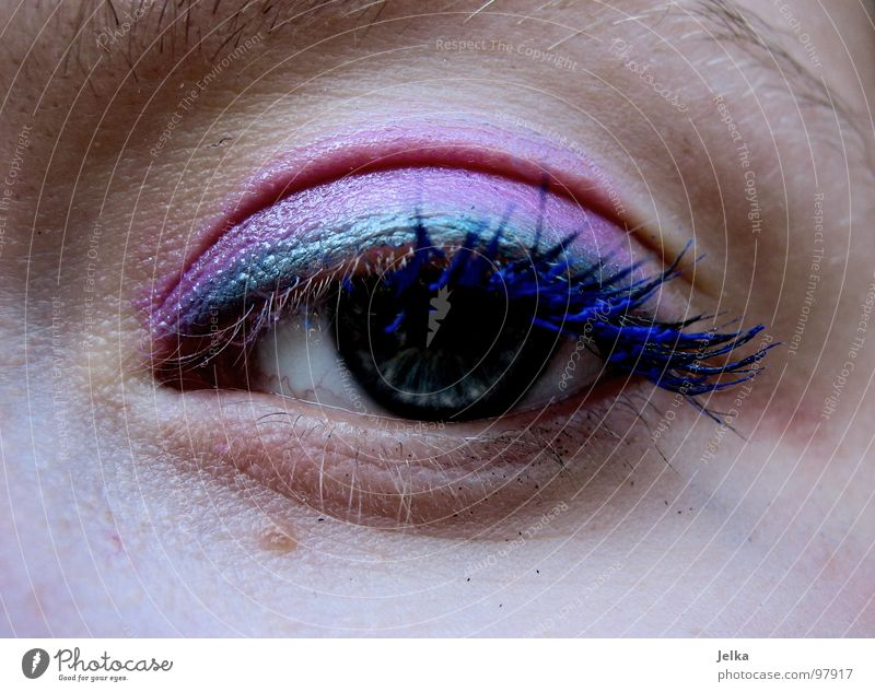 the wild 80s Face Make-up Mascara Human being Woman Adults Eyes Blue Green Violet Pink Eyelash Wearing makeup Eye shadow Magenta faces eye lashes eyeshadow