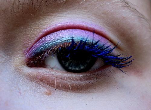 the wild 80s Face Make-up Mascara Human being Woman Adults Eyes Blue Green Violet Pink Eyelash Wearing makeup Eye shadow Magenta faces eye lashes eyeshadow