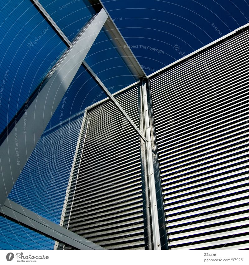 L.S.W II Building Wall (building) Reflection Pattern Geometry Style Minimal Simple Modern noise barrier Construction site Glass Glas facade Sky Blue Metal Line